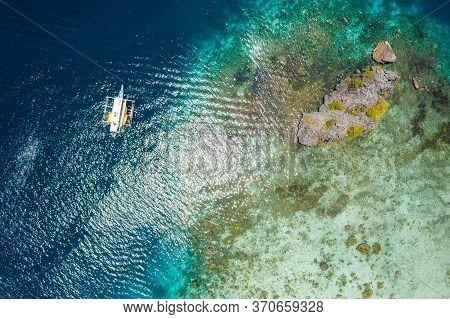 Shimizu Island, El Nido, Palawan, Philippines. Beautiful Top Down Aerial View Of Lonely Hopping Trip