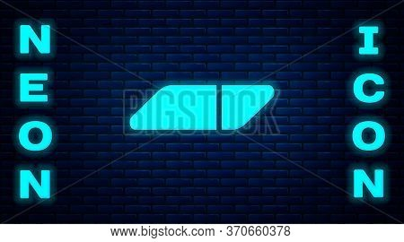 Glowing Neon Eraser Or Rubber Icon Isolated On Brick Wall Background. Vector