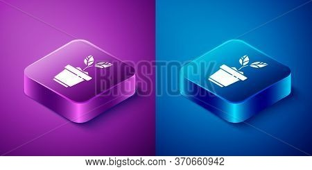 Isometric Plant In Pot Icon Isolated On Blue And Purple Background. Plant Growing In A Pot. Potted P