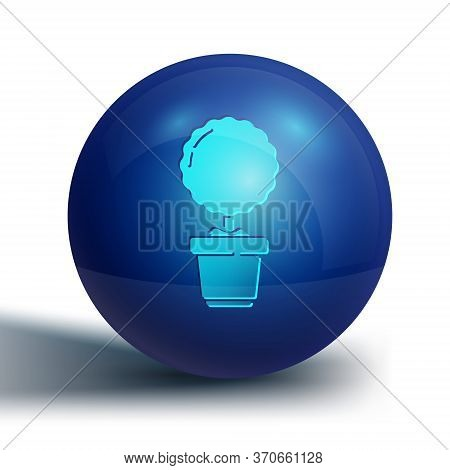 Blue Plant In Pot Icon Isolated On White Background. Plant Growing In A Pot. Potted Plant Sign. Blue