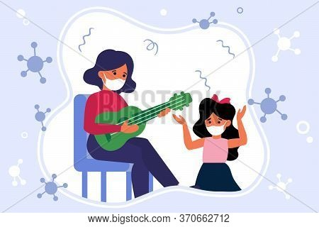 Music Lesson During Epidemic. Teacher Playing Guitar, Child, Student In Mask Flat Vector Illustratio