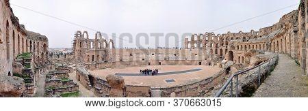 El Djem, Tunisia - February 03, 2009: Panorama Of Arena Of The Ancient Roman El Jem Amphitheater.