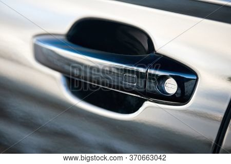 Luxury Car Door Handle With Sensor. Doors Unlocked And Locked Without Operating The Master Key, Clos
