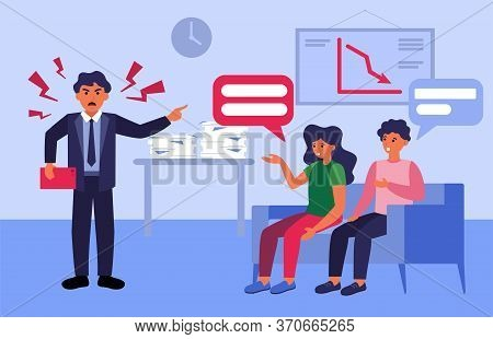 Angry Boss Shouting At Employees For Loss. Furious Aggressive Chief, Decrease Chart, Teamwork Mistak
