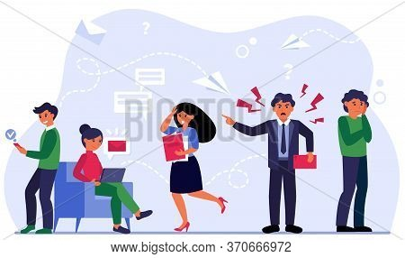 Aggressive Leader Shouting At Scared Employees. Angry Boss, Error, Stress At Work Flat Vector Illust