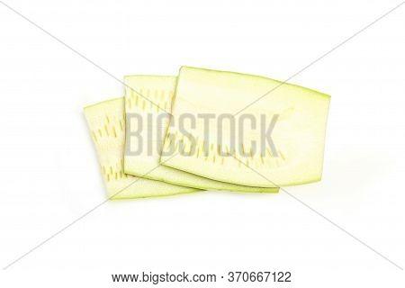 Zucchini Isolated. Zucchini Isolated White Background. Set Of Green Zucchini. Top View