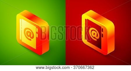 Isometric Address Book Icon Isolated On Green And Red Background. Notebook, Address, Contact, Direct