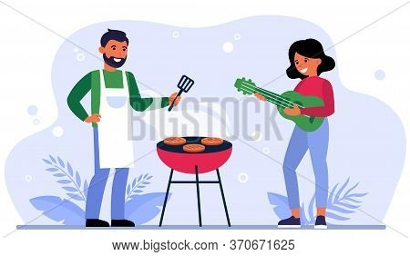Couple Having Barbeque Party Outdoors. Bearded Man Grilling Meat And Woman Playing Guitar Flat Vecto