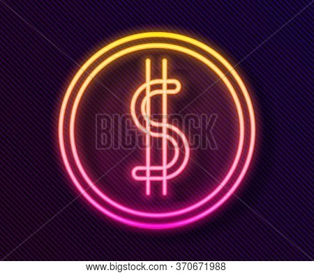 Glowing Neon Line Coin Money With Dollar Symbol Icon Isolated On Black Background. Banking Currency