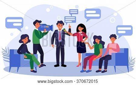 News Reporters Interviewing Businessman Or Politician. Talk Show, Journalist, Cameraman Flat Vector