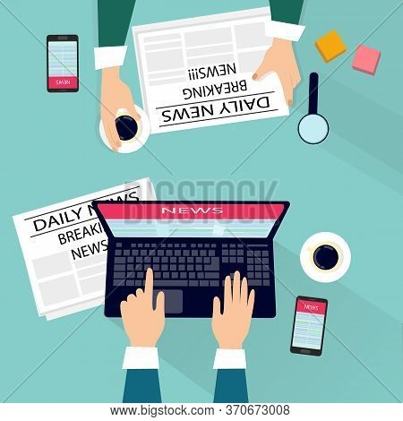 Reading News On Laptop Or In Newspaper, Breaking News Concept. News Website. Vector Illustration