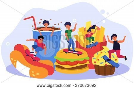 Teenage Children Skateboarding Among Fast Food. Burger, Hotdog, Unhealthy Eating Flat Vector Illustr