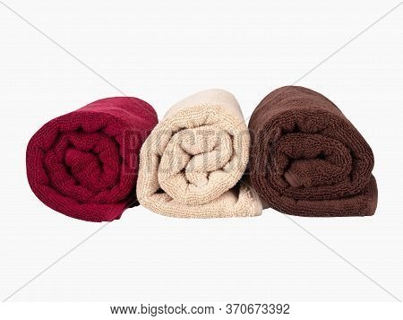 A Multicolored Towels Isolated On White Background