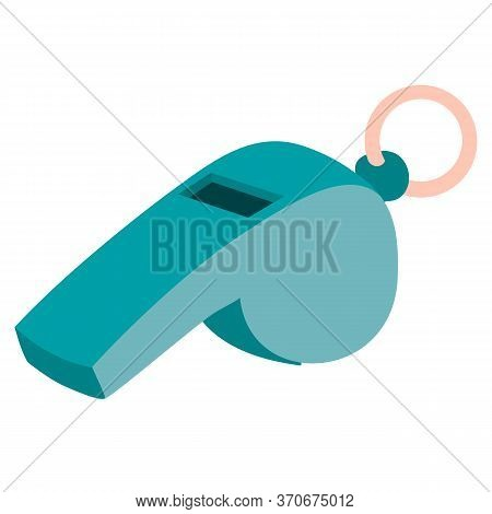 Sports Whistle, Flat, Isolated Object On A White Background, Vector Illustration,