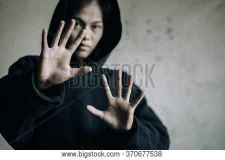 Stop Drugs Concept. A Woman Making A Stop Gesture To Drugs, Human Hands Stop Drugs . International D