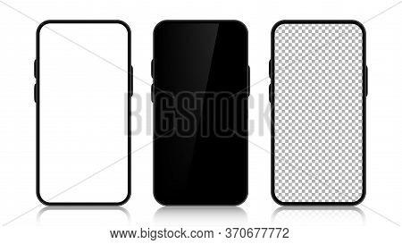 Three Realistic Smartphone Mockup Set. Mobile Phone Blank, White, Transparent Screen Design On White