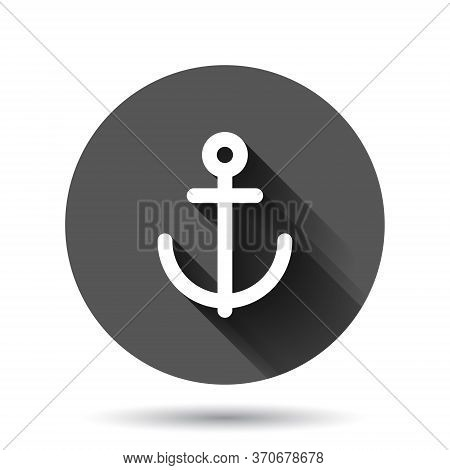 Boat Anchor Icon In Flat Style. Vessel Hook Vector Illustration On Black Round Background With Long
