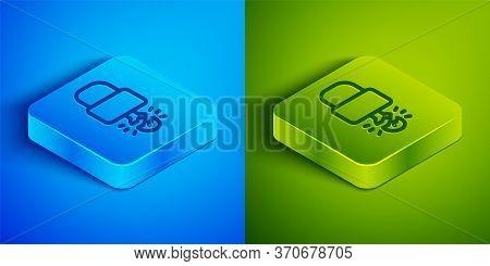 Isometric Line Key Broke Inside Of Padlock Icon Isolated On Blue And Green Background. Padlock Sign.
