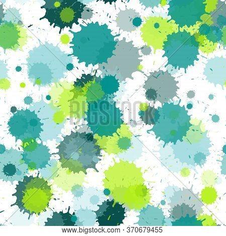 Paint Transparent Stains Vector Seamless Grunge Background. Hipster Ink Splatter, Spray Blots, Mud S