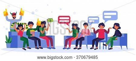 Football Fans Vs Society. Group Of People Talking To Football Supporters Flat Vector Illustration. D