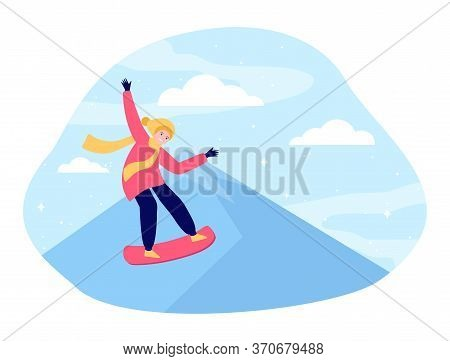 Young Cartoon Person Snowboarding From Mountain. Winter, Snowboard, Extreme Flat Vector Illustration