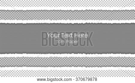 Ripped Squared Horizontal Paper Strips For Your Text Or Message. Your Text Here. Torn Paper. Four To