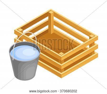 Fence Or Inclosure With Bucket Of Water As Agricultural And Farming Construction For Separation Vect