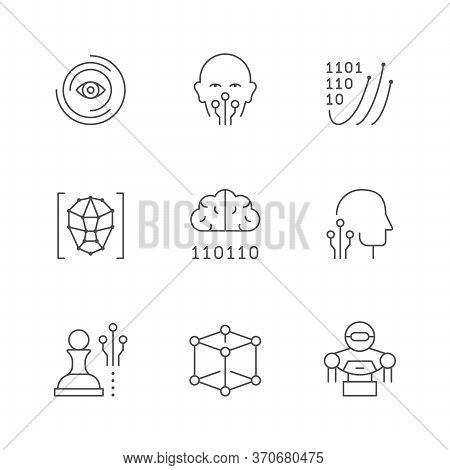 Set Line Icons Of Artificial Intelligence Isolated On White. Digital Brain, Robot, Android, Cyber Mi