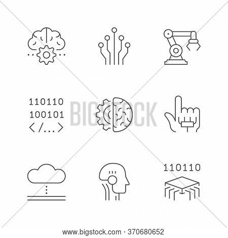 Set Line Icons Of Artificial Intelligence Isolated On White. Digital Brain, Robotic Arm, Android, Cy