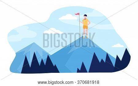 Young Scout Standing On Mountain Peak With Flag. Challenge, Adventure, Nature Flat Vector Illustrati