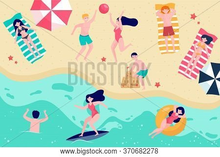 Various People Relaxing On Beach Flat Vector Illustration. Cartoon Characters Resting At Sea Or Ocea