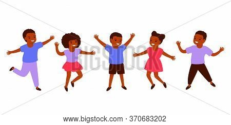 Group African Black Children. International Day Of The African Child, 16 June. Happy Kids Jump Toget