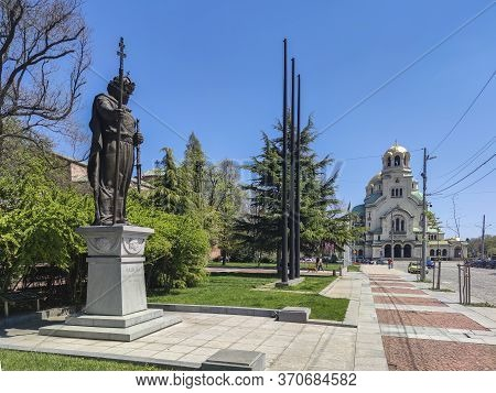 Sofia, Bulgaria - April 24, 2020: Monument Of Bulgarian Tsar Samuel, Sofia, Bulgaria