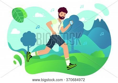Man Is Jogging In The Park And Listening To Music From His Phone. Happy Runner Listens To Music. Out