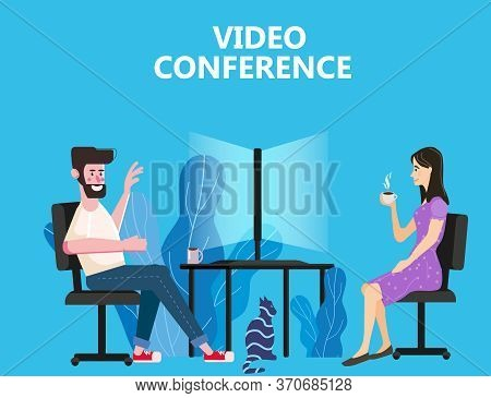 Woman And Man Worked From Home Video Conference People On Computer Screen Laptop Talking By Internet