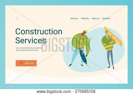 Construction Business Website Template With Characters Working With Jackhammer And Timber.