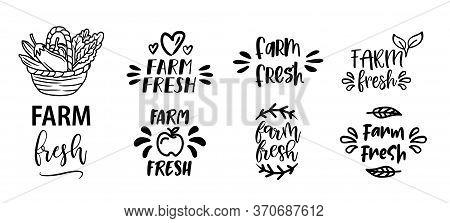 Farm Fresh Set Of Hand Drawn Doodles Badges, Logo, Icon, Label. Farm Market Natural Organic Product