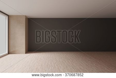 Interior Empty Room With Earth Tone Colors, Minimalist Design Concept, 3d Rendering Background