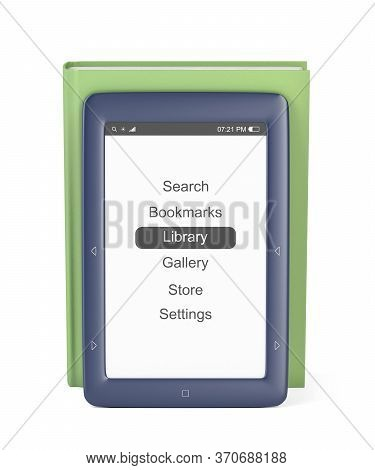 Blue E-book Reader And Green Book On White Background. 3d Illustration