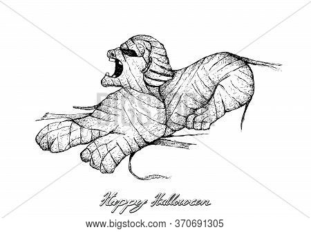 Illustration Hand Drawn Sketch Of Anubis Mummy Isolated On White Background. A God Associated With T