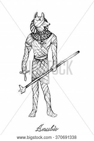Illustration Hand Drawn Sketch Of Anubis Isolated On White Background. A God Associated With The Mum