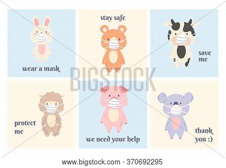 Cute Animal Object Collection With Koala, Sheep, Pig, Rabbit, Bear, Cow Wear Mask. Vector Illustrati