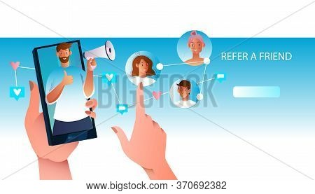 Refer A Friend Stock Concept With Bearded Male Character Holding Megaphone, Smartphone Screen, Users
