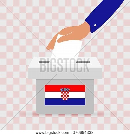 Flat Hand Putting Vote Bulletin Into Ballot Box With Chroatian Flag Icon. Election Concept In Chroat