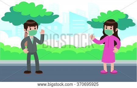 Girl And Boy Meeting On Roadside And Waving Hands To Each Other