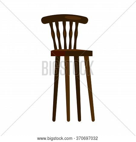 High Wooden Chair. Nursery, Kitchen, Retro Chair. Chairs Concept. Illustration Can Be Used For Topic