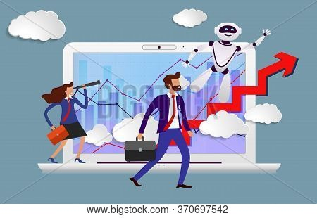 Robot Assistant In Business From Screen Of Laptop Prompts Head Direction For Movement To Success. Ha
