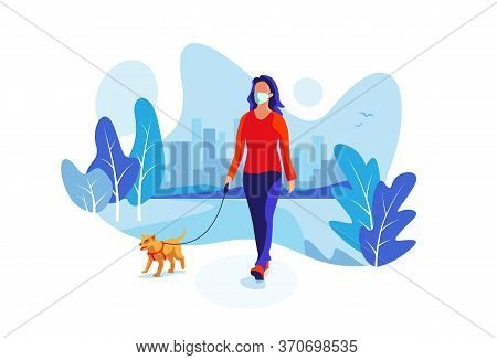 Solo Woman Wearing Face Mask With Dog Walking In City Park