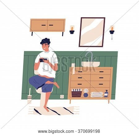 Smiling Guy Sitting On Toilet Surfing Internet Vector Flat Illustration. Funny Male Playing Game, Ch