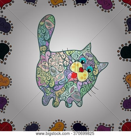 Vector Illustration. Cute Graphical Cats Print. Seamless Pattern. Depiction At Neutral, Green And Wh